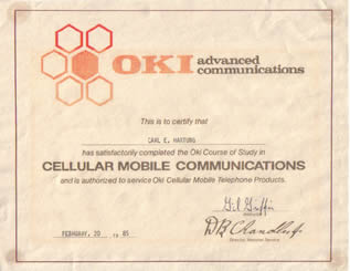 1985: OKI Advanced Communications - Certified Cellular Mobile Telephone Products Technician